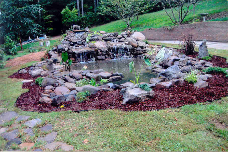 Waterfall ideas on pinterest ponds garden waterfall and for Yard pond ideas